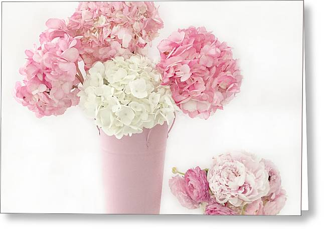 Shabby Chic Pink White Hydrangeas Flower Prints Home Decor - Cottage Pink Hydrangeas Greeting Card