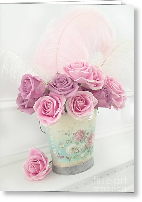 Shabby Chic Romantic Bucket Of Roses - Shabby Cottage Romantic Pink Roses Floral Art Greeting Card