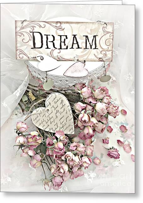 Greeting Card featuring the photograph Shabby Chic Romantic Dream Valentine Roses - Romantic Dreamy Roses Valentine Hearts by Kathy Fornal