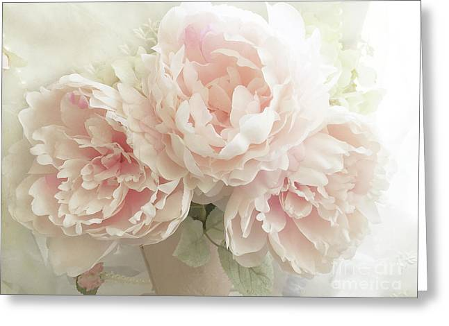 Greeting Card featuring the photograph Shabby Chic Romantic Pastel Pink Peonies Floral Art - Pastel Peonies Home Decor by Kathy Fornal