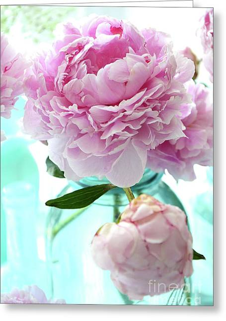 Shabby Chic Romantic Pink Peonies Aqua Mason Ball Jars - Cottage Summer Garden Peonies Decor Greeting Card