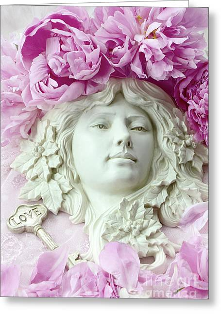 Shabby Chic Romantic Peonies With Angel Sculpture - Dreamy Peonies Love Angelic Sculpture Art Greeting Card