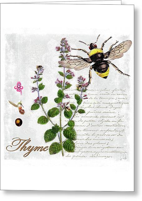 Shabby Chic Thyme Herb Bumble Bee Botanical Illustration Greeting Card