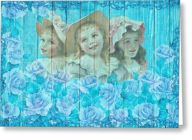 Shabby Chic Vintage Little Girls And Roses On Wood Greeting Card
