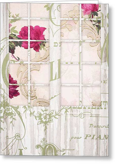 Shabby Cottage French Doors Greeting Card