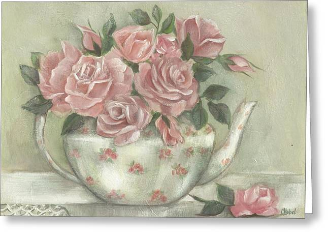 Shabby Teapot Rose Painting Greeting Card
