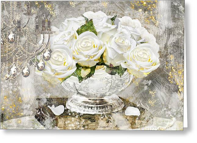 Chandelier Greeting Cards - Shabby White Roses with Gold Glitter Greeting Card by Mindy Sommers