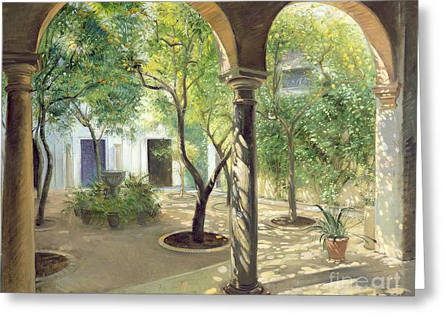 Shaded Courtyard, Vianna Palace, Cordoba Greeting Card by Timothy Easton