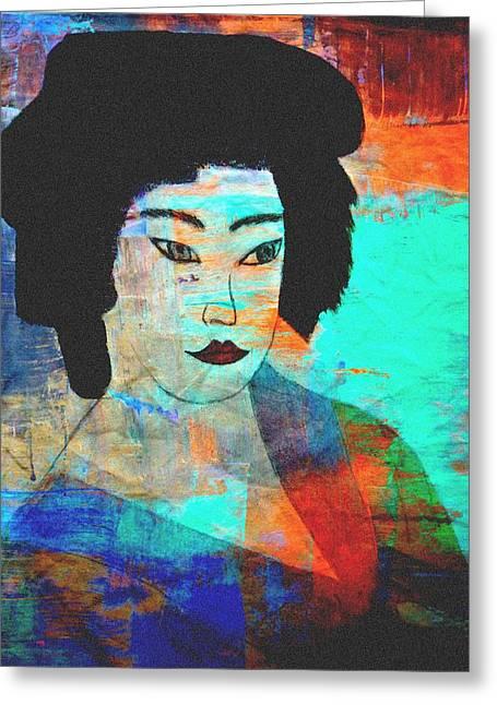 Shades Of A Geisha Greeting Card by Kathy Bucari