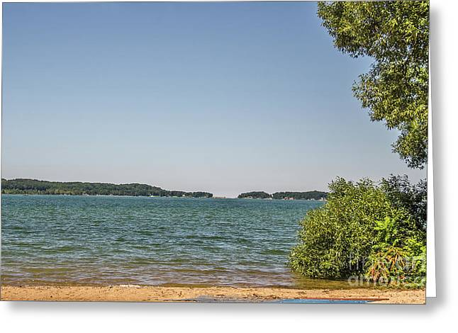 Greeting Card featuring the photograph Shades Of Green And Blue by Sue Smith