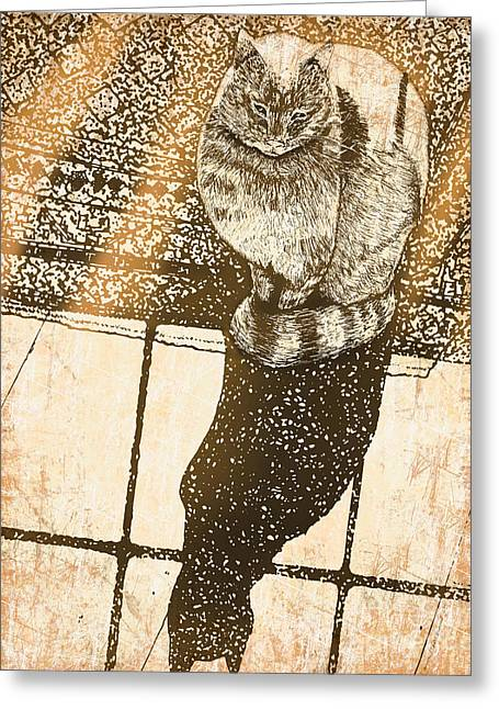 Shadow Cat Greeting Card by Laura Brightwood