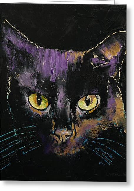 Shadow Cat Greeting Card by Michael Creese