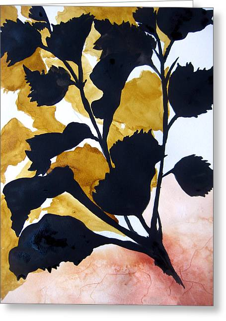 Best Sellers -  - Green And Yellow Abstract Greeting Cards - Shadow Hibiscus Greeting Card by Lil Taylor