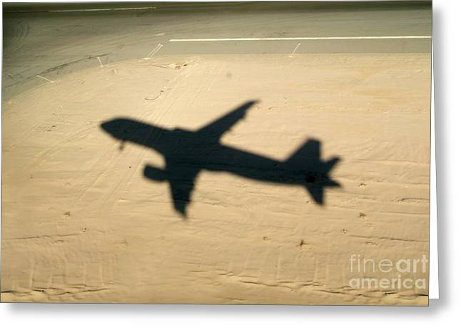 Shadow Of Airplane Flying Into Land Greeting Card by Sami Sarkis