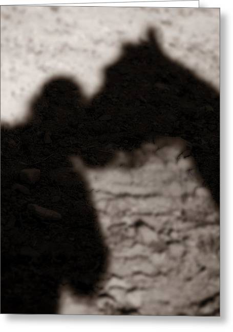 Shadow Of Horse And Girl - Vertical Greeting Card by Angela Rath