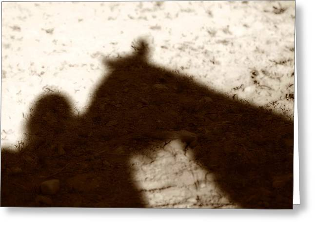 Shadow Of Horse And Girl Greeting Card by Angela Rath