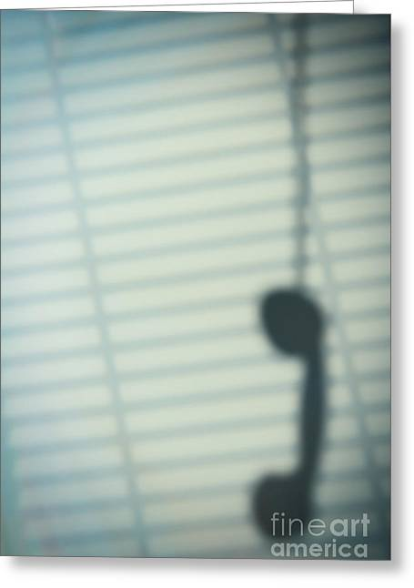 Shadow Of Telephone Receiver Greeting Card by Amanda Elwell