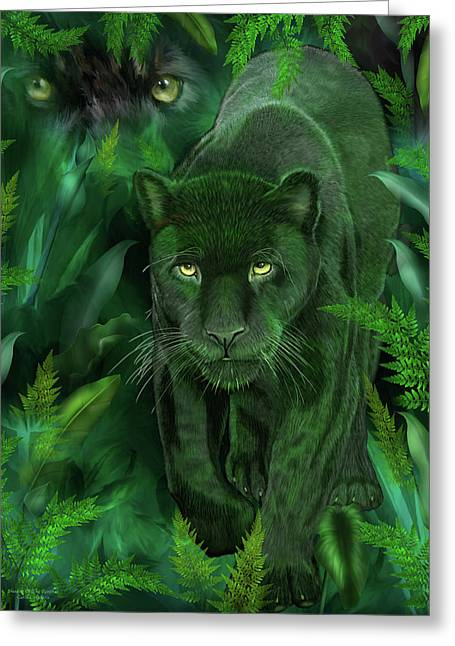Greeting Card featuring the mixed media Shadow Of The Panther by Carol Cavalaris