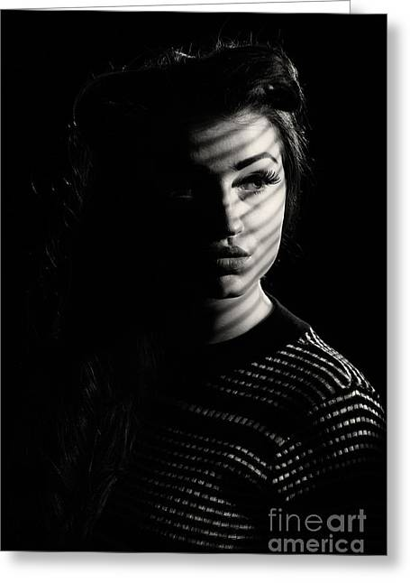 Shadow Over Womans Face Greeting Card by Amanda Elwell