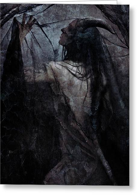 Shadow Veil Greeting Card by Cambion Art