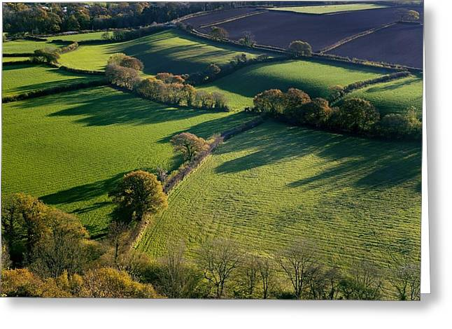 Shadows Across Fields, Devon, Uk Greeting Card