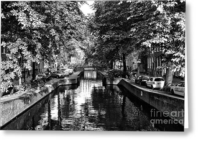 Shadows Along The Amsterdam Canal Mono Greeting Card