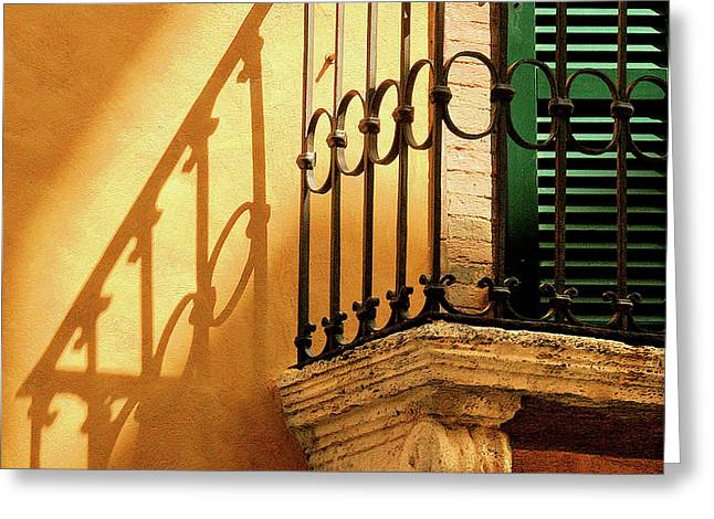 Shadows And Green Shutter Greeting Card