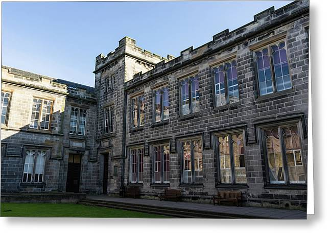 Shadows And Reflections - University Of Aberdeen Courtyard Greeting Card