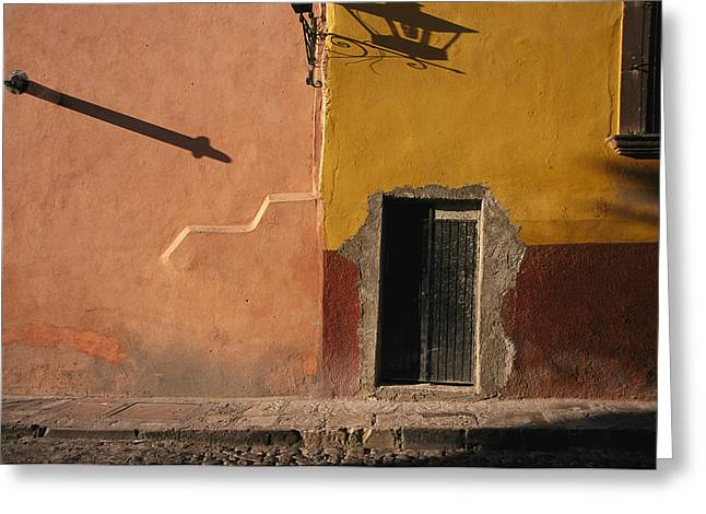 Doors And Doorways Greeting Cards - Shadows Cast On The Exterior Greeting Card by Gina Martin