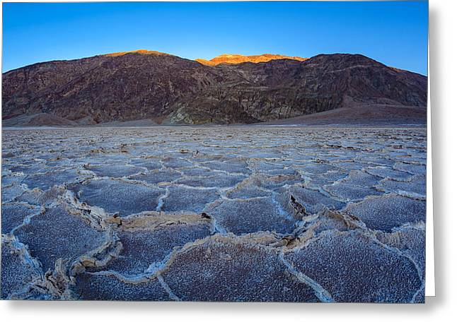 Shadows Fall Over Badwater Greeting Card