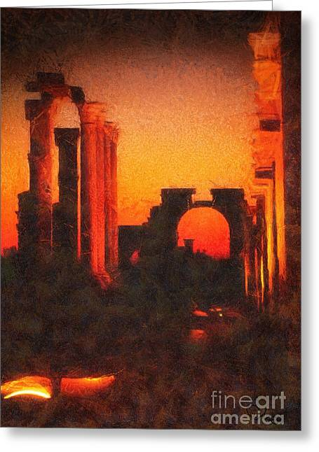 Shadows Of Palmyra Greeting Card by Mo T