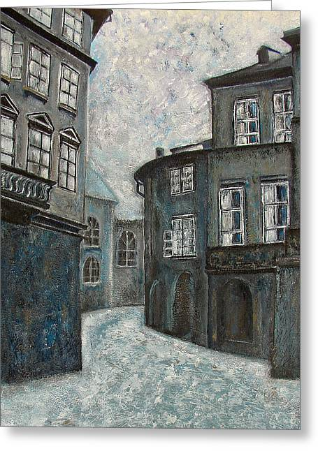 Shadows Of  Prague Greeting Card by Erika Morrison