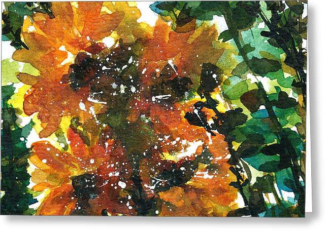 Shadows Of Sunflowers Greeting Card by Garima Srivastava