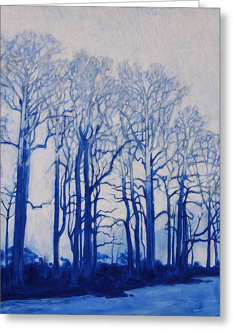Greeting Card featuring the painting Shadows Of Winter by Andrew Danielsen