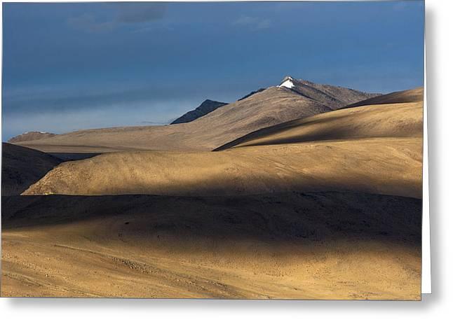 Shadows On Hills Greeting Card by Hitendra SINKAR
