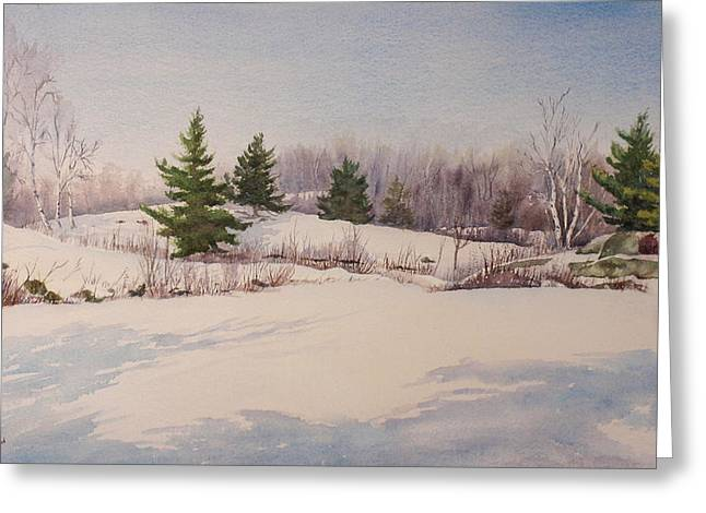 Shadows On Snow In The Canadian Shield  Greeting Card by Debbie Homewood