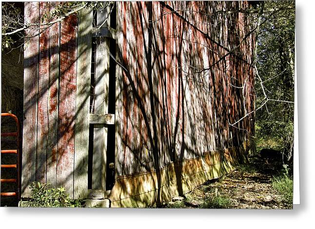 Shadows On The Barn Greeting Card by Richard Gregurich