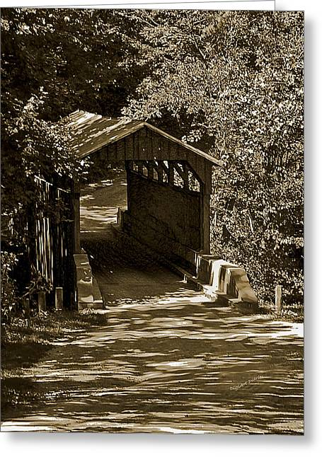 Shady Covered Bridge In Chocolates Greeting Card by DigiArt Diaries by Vicky B Fuller