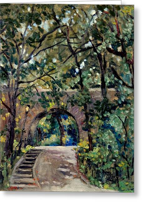 Shady Path Near The Cloisters Fort Tryon Park Nyc Greeting Card by Thor Wickstrom