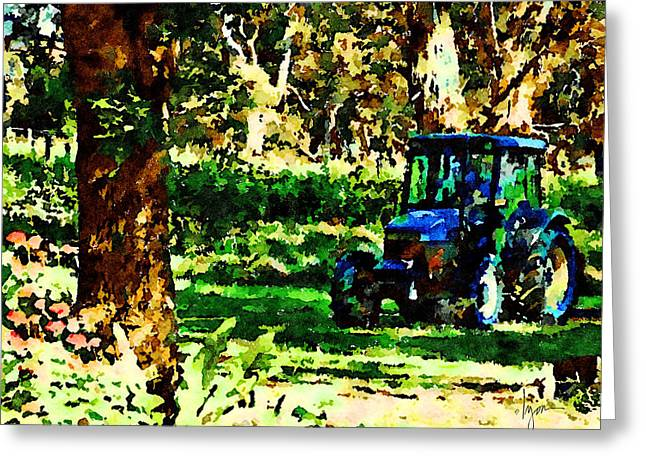 Greeting Card featuring the painting Shady Tractor by Angela Treat Lyon