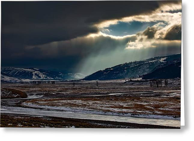 Shaft Of Sunlight In Lamar Valley Greeting Card