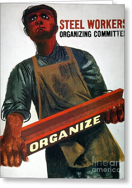 Great Depression Greeting Cards - Shahn: Steel Union Poster Greeting Card by Granger