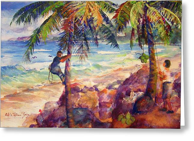 Shaking Down Coconuts Greeting Card by Estela Robles