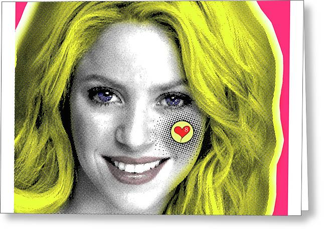 Shakira, Pop Art, Pop Art, Portrait, Contemporary Art On Canvas, Famous Celebrities Greeting Card by Dr Eight Love