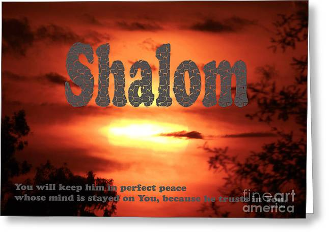Shalom  Isaiah 26 Greeting Card by Beverly Guilliams