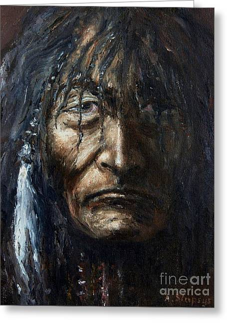 Greeting Card featuring the painting Shaman by Arturas Slapsys