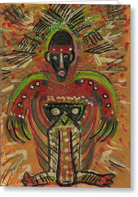 Shaman Says Walk Softly And Carry A Big Schtik Greeting Card by Anne-Elizabeth Whiteway