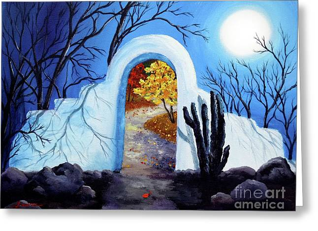Shamans Gate To Autumn Greeting Card by Laura Iverson