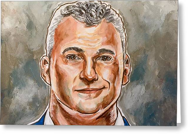 Greeting Card featuring the painting Shane Mcmahon by Joel Tesch