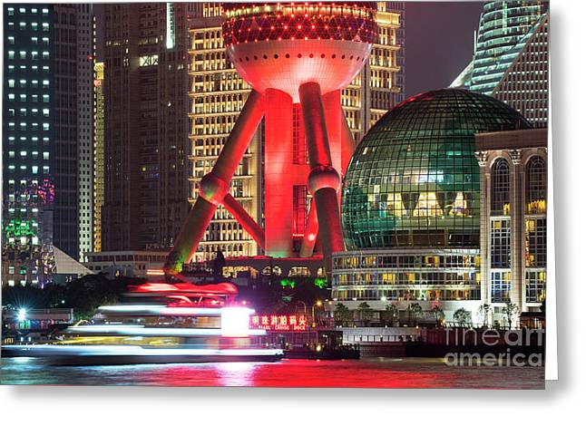 Shanghai China Downtown City Skyline At Night Greeting Card by Juli Scalzi